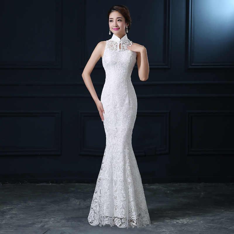 Qipao biały koronki Cheongsam nowoczesny chiński tradycyjny suknia ślubna kobiety orientalne obroże Sexy długie Qi Pao wieczór syrenka suknia