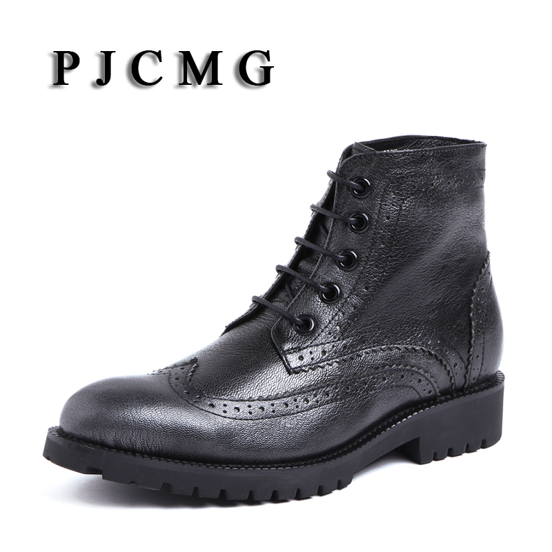 PJCMG New Arrival Comfortable High Quality Handmade Lace-Up Pointed Toe Flats Genuine Leather Oxfords Ankle Boots For Men pjcmg spring autumn men s genuine leather pointed toe slip on flats dress oxfords business office wedding for men flats shoes