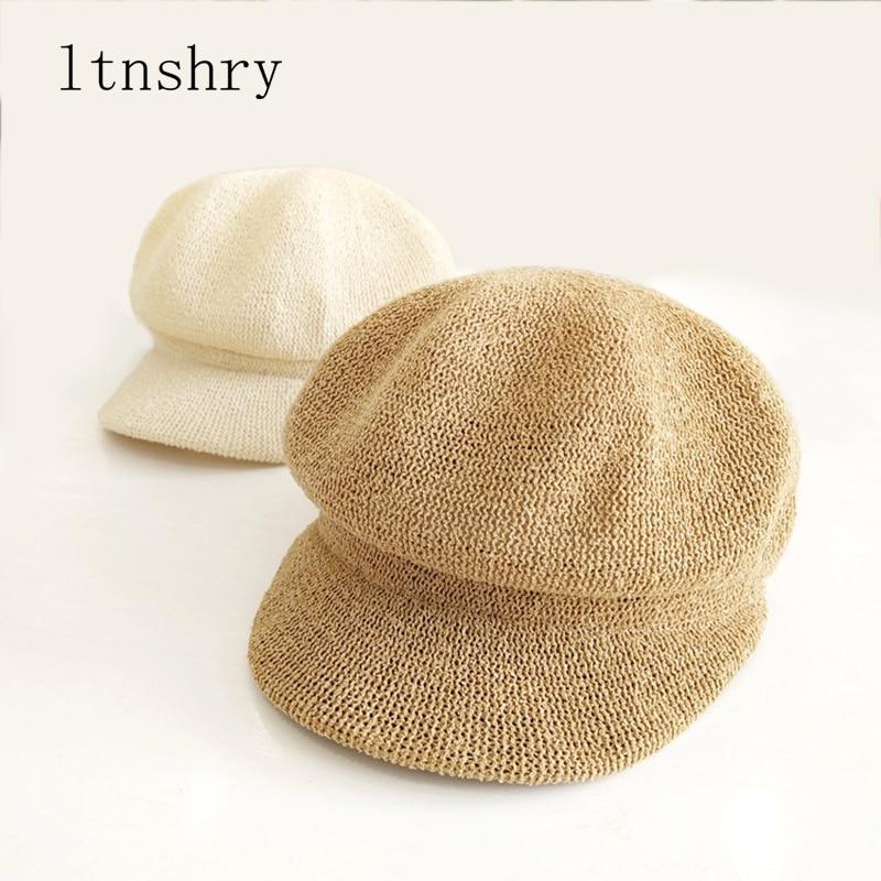 2019 New Summer Artist Straw Paper Beret Hat For Women Sun hat Visor Breathable Cap Outdoor Casual Painter Boinas Newsboy Hat