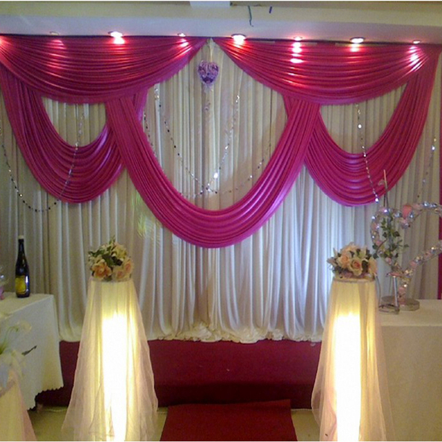 2017 New Arrival Deal Sales White And Hot Pink Wedding Backdrop Drape Decoration Stage Background Wall