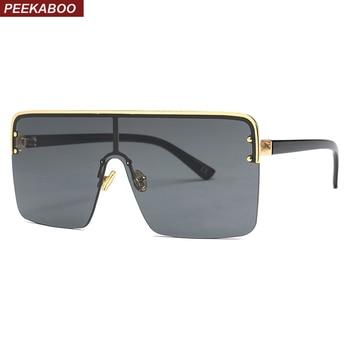 60553db795 Peekaboo sobredimensionado cuadrado gafas de sol de las mujeres de una sola  pieza 2019 lente marrón negro semi-sin montura gafas de sol hombres a prueba  de ...