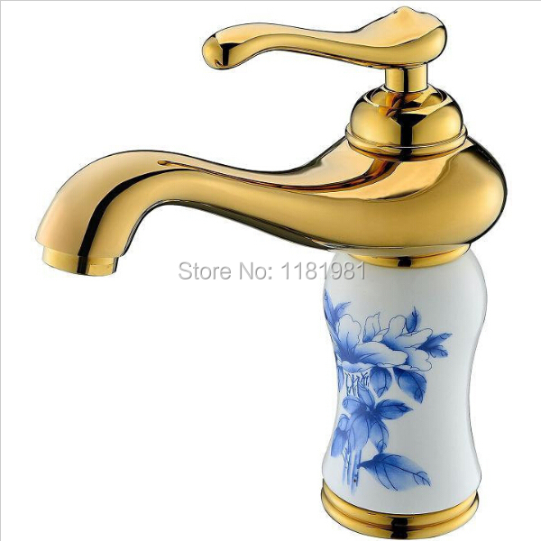 Gold plated luxury single hole white ceramic blue flower  bathroom basin faucets 1008Gold plated luxury single hole white ceramic blue flower  bathroom basin faucets 1008