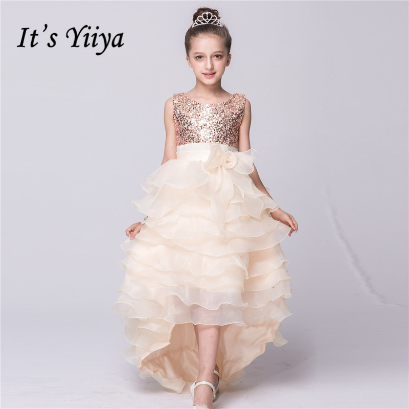 It's yiiya New Bling Sequined   Flower     Girls     Dresses   O-neck Princess Ball Grown Pleat Floor-Length   Girl     Dress   L082