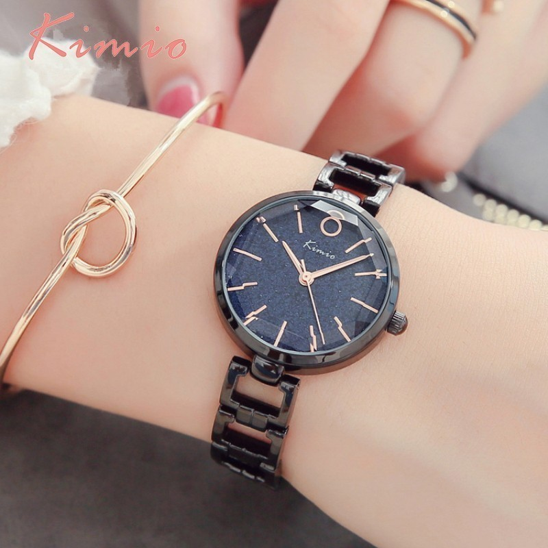 KIMIO Vintage Black Watch Women Fashion Quartz Women Clock Luxury - Zegarki damskie - Zdjęcie 1