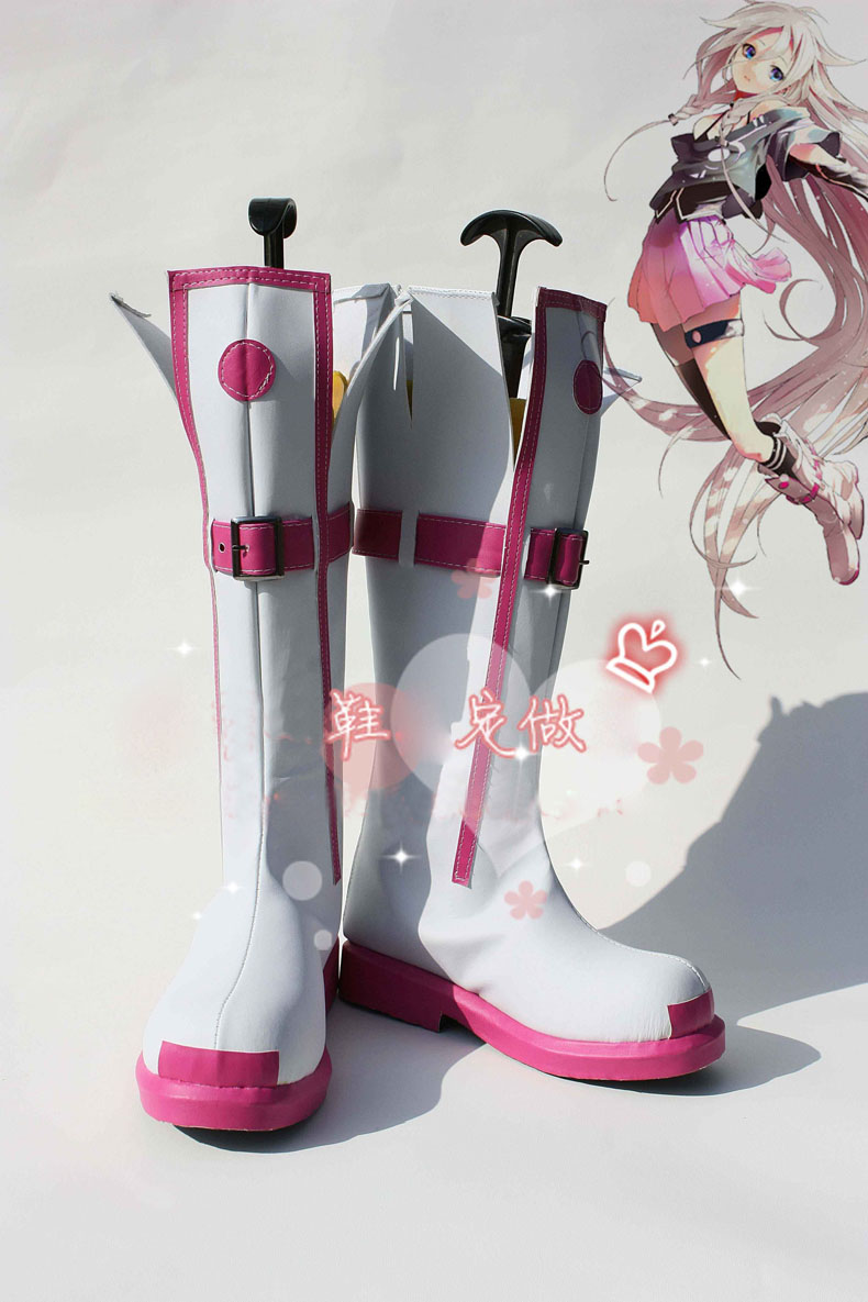 Anime High quality Vocaloid 3 IA Boots Cosplay costume shoes Custom Made Halloween Free Shipping