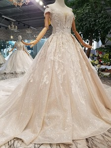 Image 3 - LS014478 shiny wedding gown with glitter sweetheart off shoulder lace up v back from real factory abito da sposa corto