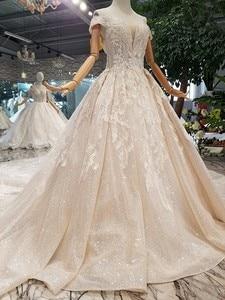 Image 3 - LS014478 מבריק שמלת כלה עם נצנצים מתוקה כבוי כתף תחרה עד v בחזרה ממפעל אמיתי abito דה sposa קורטו