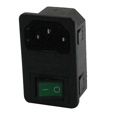 Panel Rocker Switch C14 Inlet Male Plug Power Socket AC 250V 10A w Fuse Holer ac 250v 10a iec 320 c13 c14 inlet panel power socket w fuse holder
