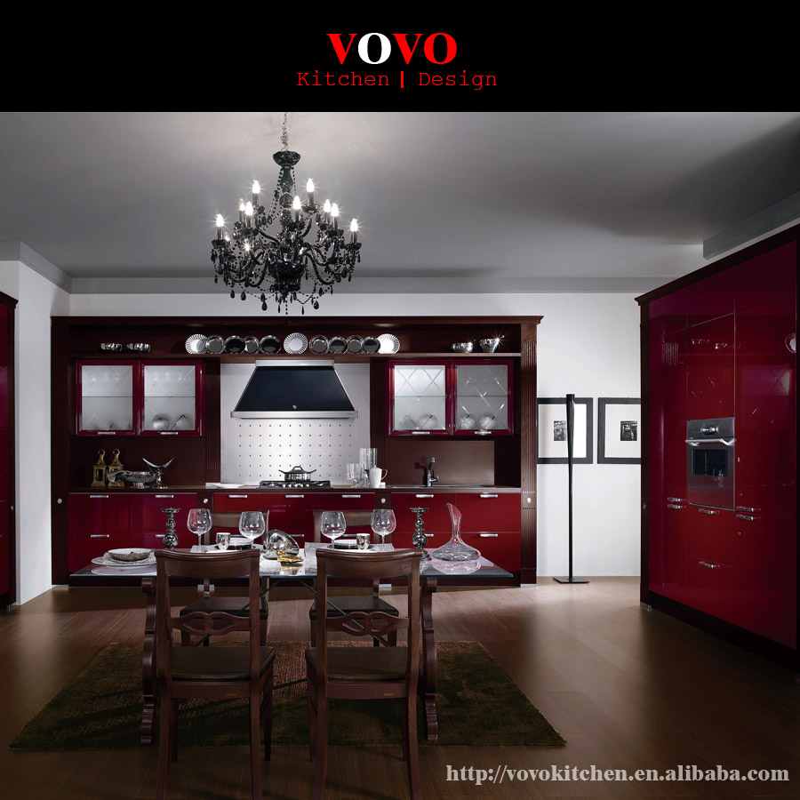 High Gloss Red Integrated Kitchen Design