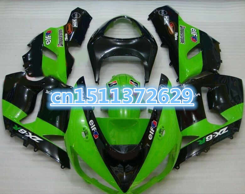 Hot sale for Kawasaki ZX6R fairings 636 2005 2006 ZX6R 05 06 grass green black Bodywork fairing kits-Dor D