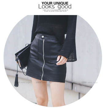 2019 Autumn Winter Women Skirt PU Leather Sexy Mini Skirt With Pockets Zipper A-line Package Hip High Waist Women Clothing 5
