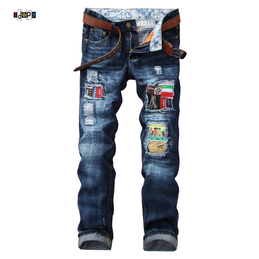 ФОТО American and European Style Denim Joggers Vintage Washed Patches Designer Straight Fit Ripped Jeans For Men