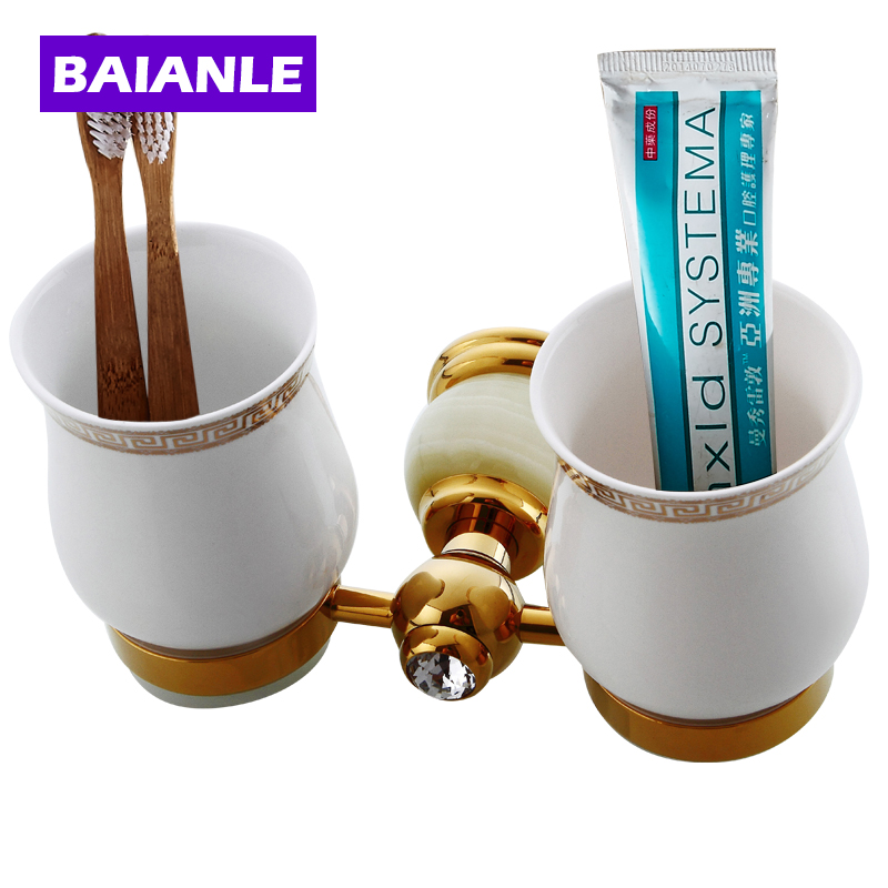 Top quality Luxury European Style Copper & Jade toothbrush Tumbler&Cup Holder with 2cups Wall Mounted Bath Product luxury golden brass three cup holder luxury style golden copper toothbrush double tumbler 3pcs cup holder wall bath cup rack