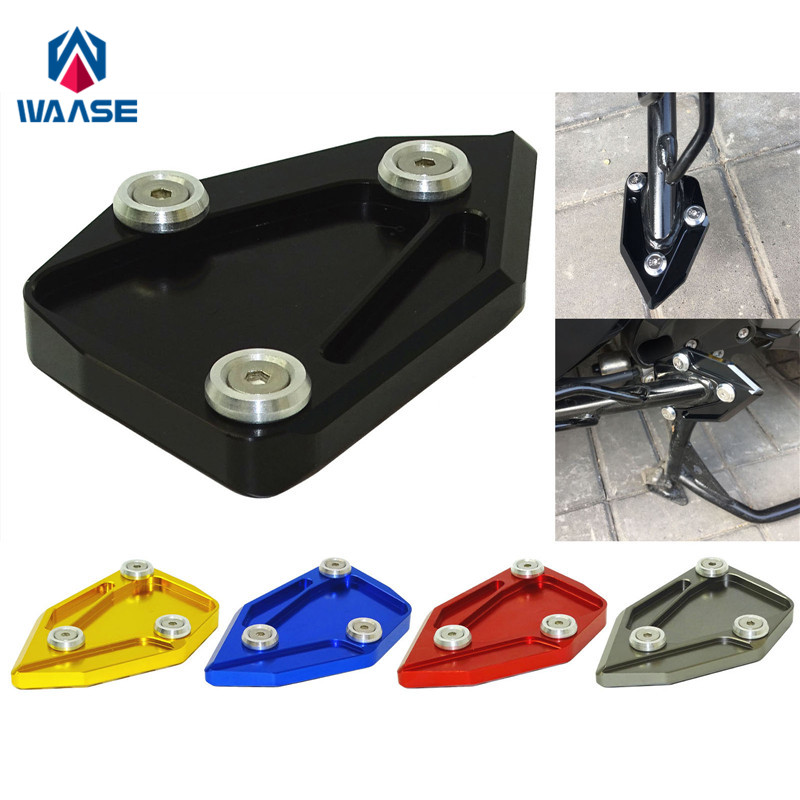 waase Motorcycle Kickstand Foot Side Stand Extension Pad Support Plate For BMW C650GT C600 Sport 2012 2013 2014 2015 cnc motorbike kickstand foot side stand extension pad support plate for yamaha t max tmax 530 2012 2013 2014 2015