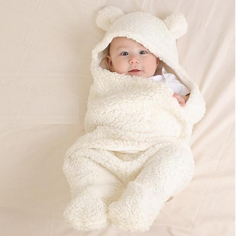 Newborn Baby Blanket Thermal Swaddling Berber Fleece Baby Swaddle Wrap Infant Envelope Stroller For Toddlers Baby Sleeping Bag