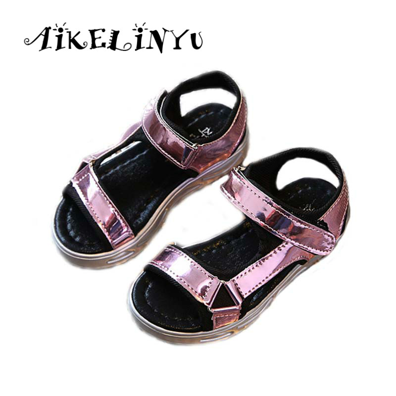 AIKELINYU 2018 Summer New shiny girls sandals Children Casual leather Sandals kids shoes for girl Golden silver Beach Shoes Boys
