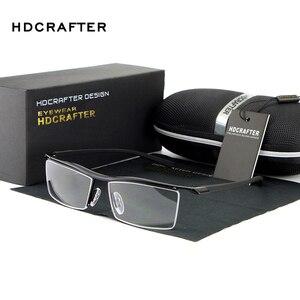 Image 2 - HDCRAFTER 2018 Brillen Randloze Vierkante Bijziendheid Brilmontuur Mannen Merk Comfortabele antislip Brillen Frames voor Mannen