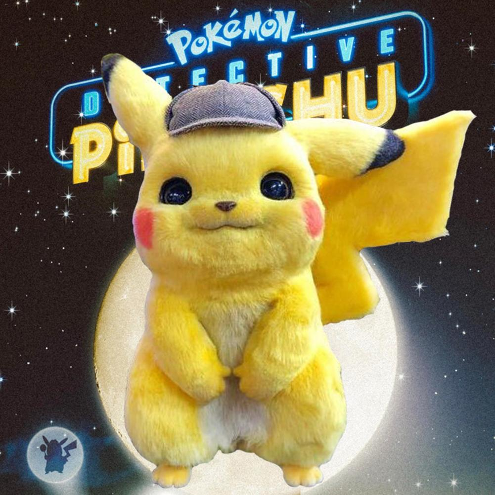 28cm Detective Pikachu Plush Toy High Quality Cute Anime Plush Toys Children's Gift Toy Kids Cartoon Peluche Pikachu Plush Doll