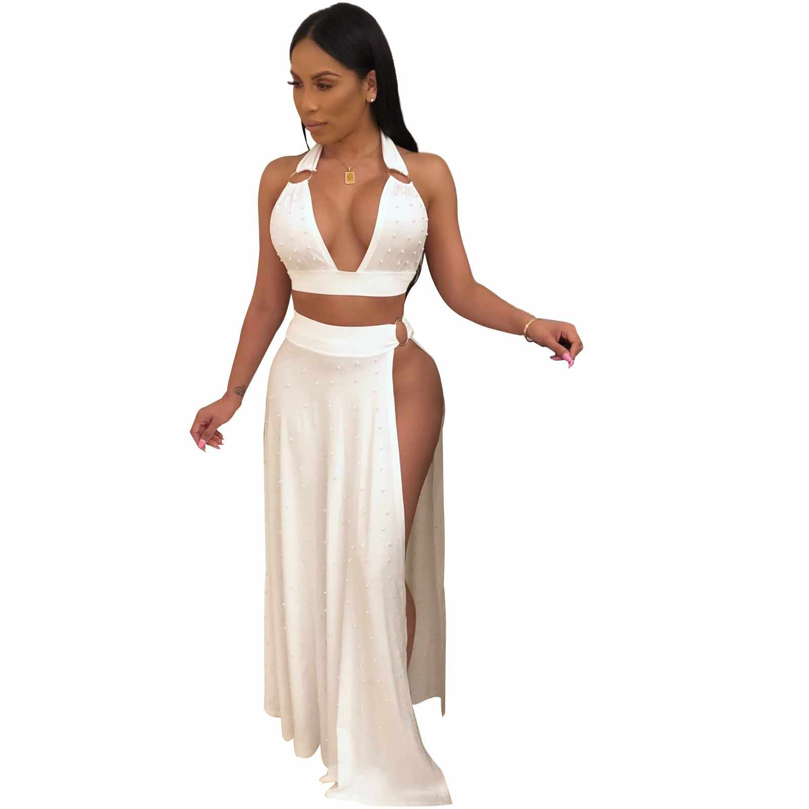 fc435d33384 2019 Women Summer Two Piece Maxi Dress Pearls Beading Halter Backless Party Dresses  High Slit Sexy
