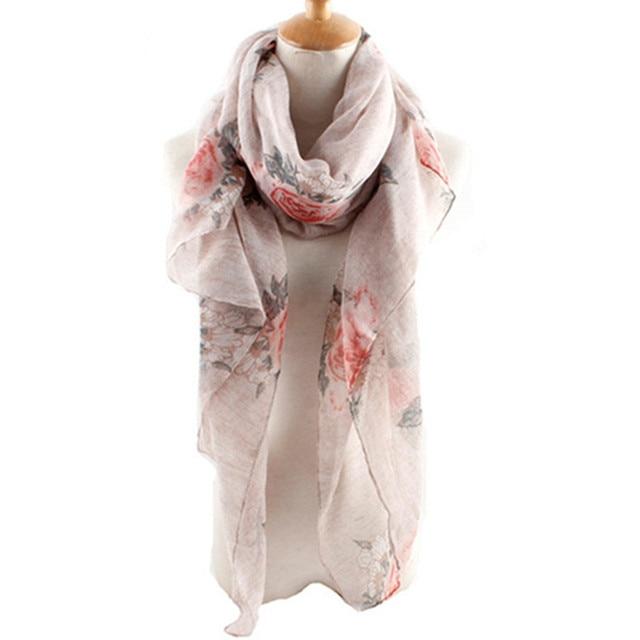 fashion rose flowers scarfscarves pastel color voile women long shawl floral print foulard muslim - Foulard Color