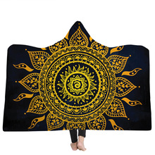 Indian Mandala Hooded Blanket For Adults Soft Fluffy Sherpa Fleece Throw Bed Manta Sofa Bedspread Travel Camping Koc