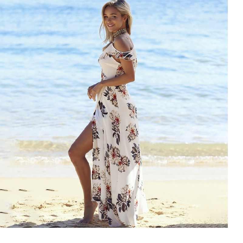 5c89b8a2b24fb Women sexy off shoulder chiffon floral printed deep V boho summer sundress  beach vestidos side split long wrap dress