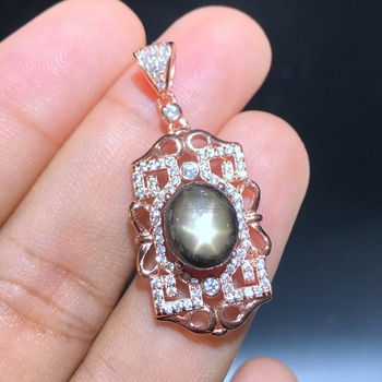 New store discount price super discount 925 Silver Natural Star Sapphire lady Necklace