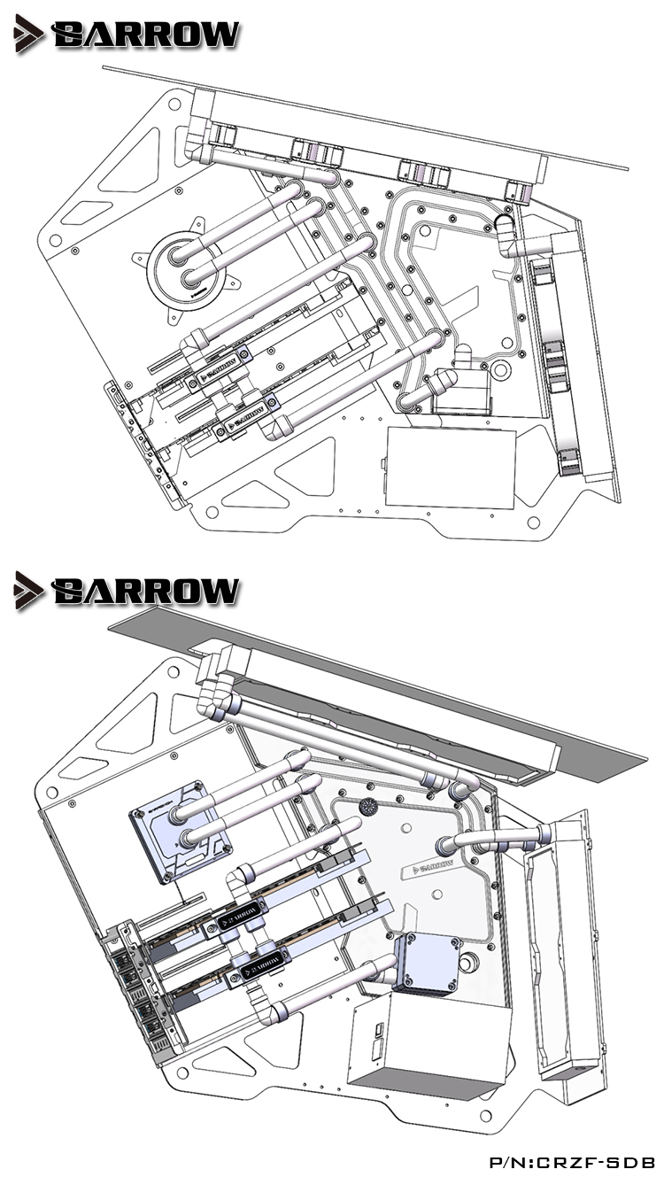Barrow CRZF-SDBV2/CRZF-SDB A, Waterway Boards For Cougar Conquer Case, For  Intel CPU Water Block & Single/Double GPU Building
