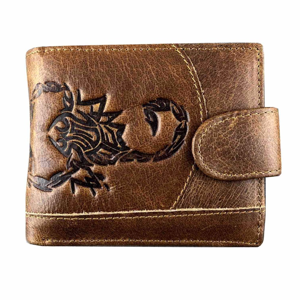 Men Wallets Vintage Cow Genuine Leather Wallet Male Scorpion Totem Dollar Price Coin Purse Short Wallet Carteira