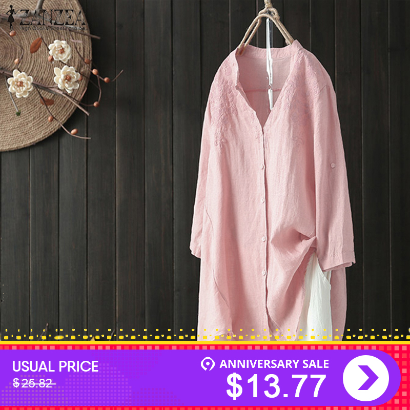 2018 ZANZEA Elegant Cotton Work Blusa Women Button Down Shirt Female V Neck Embroidery Solid Blouse Vintage Plus Size Linen Tops