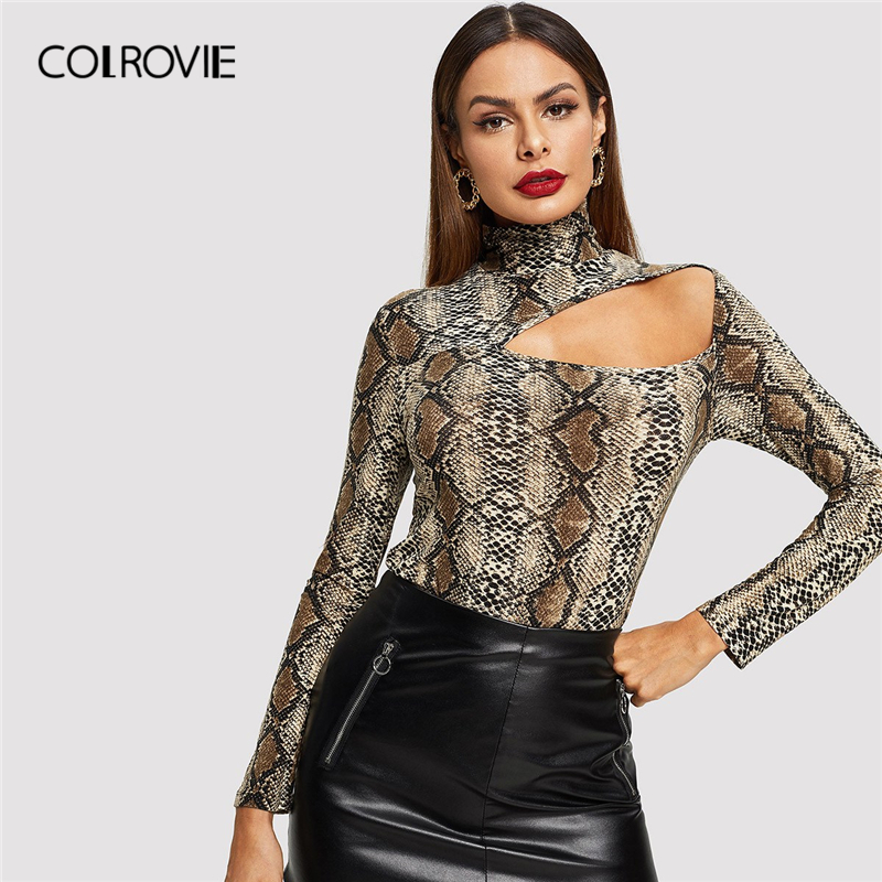 COLROVIE Cut Out Front Snake Skin Print Fitted Casual T-Shirt Women 2019 Spring Fashion Long Sleeve Korean Tops Office Lady Tees