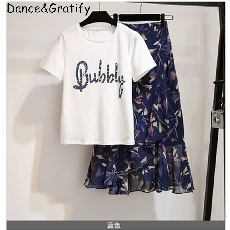 New 2019 Summer Women Letters Beading T-shirt Suits Print Chiffon Skirt Casual Girls Chic 2 Piece Set Komplet Dresy Damskie
