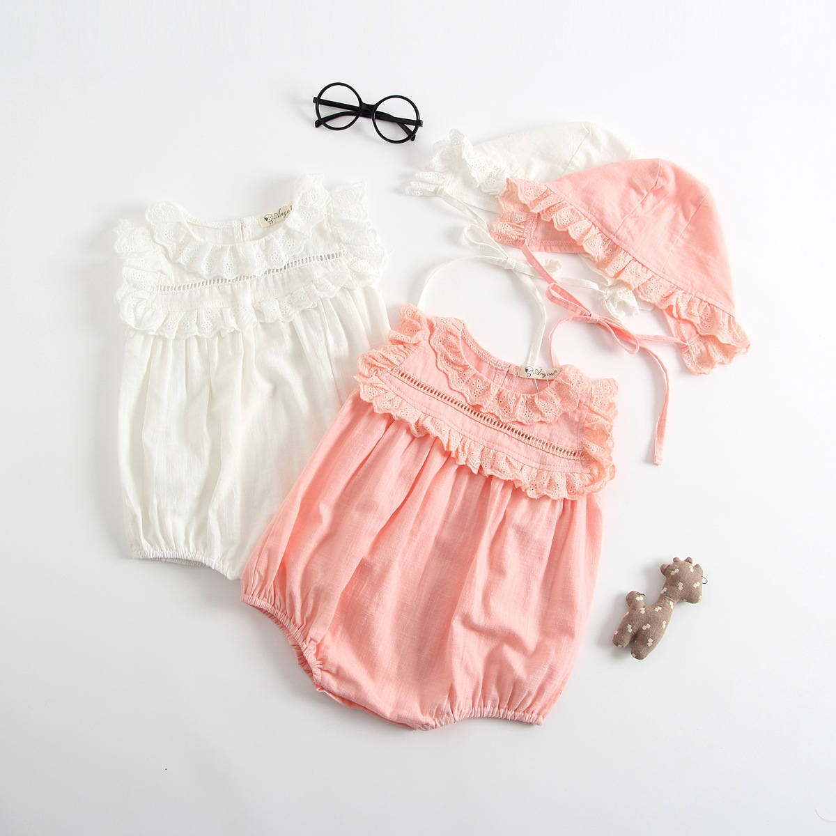 Baby girls rompers 2018 summer Newborn jumpsuit princess girls clothes sleeveless baby Rompers with hat roupas de bebe