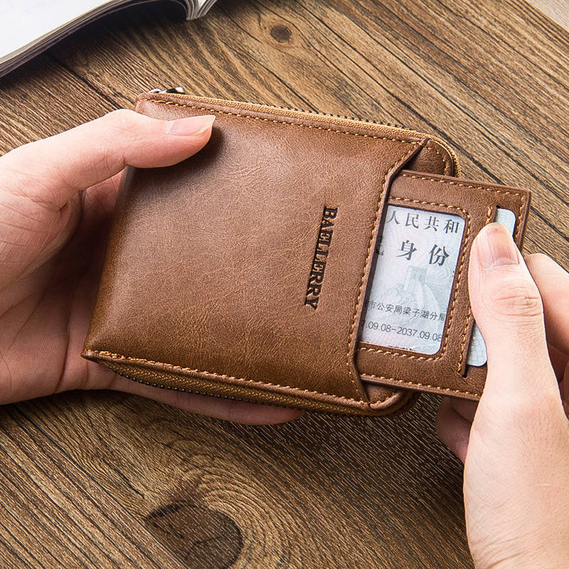 Men's Wallet PU Leather Card Holder's Short Zipper Wallet High Quality Man Card Package Simple Comfortable Standard Wallet