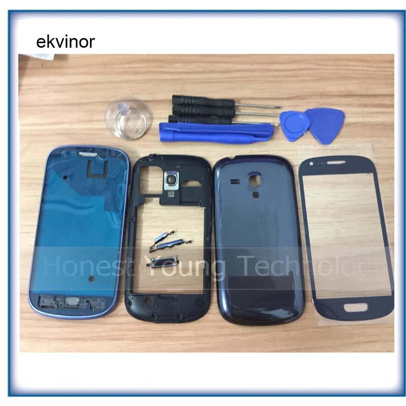 Coque pour Samsung Galaxy S3 mini GT I8190, lentille extérieure en verre cadre central cadre avant couverture arrière avec outils