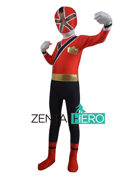 Free Shipping DHL NEW Children's Halloween Costume Lycra Red 2011 SAMURAI Costume Cosplay Kids Superhero Costume XWHK05