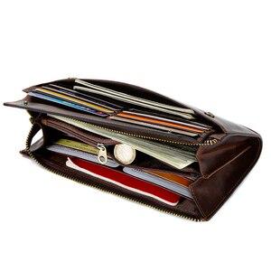Image 3 - CONTACTS cartera de mano de piel auténtica anti RFID para hombre, billetera larga informal de alta capacidad, portatarjetas, carteras masculinas