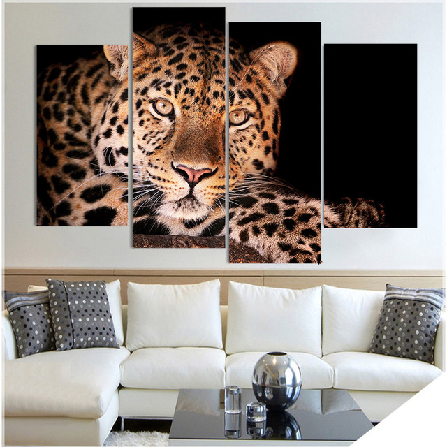 4 panel canvas art canvas painting leopard spotted hunting hd