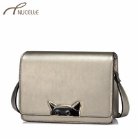 NUCELLE Women S PU Leather Messenger Bags Ladies Fashion Cat Shoulder Purse Female All Match Brief