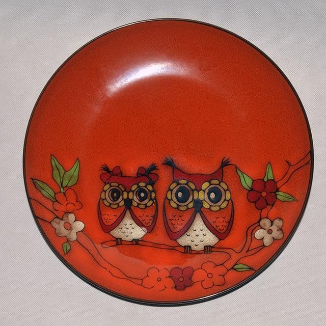 10 inch Hand-painted Floral Jingdezhen Porcelain decorative plates with owl Mark Antique Dish Cutlery & 10 inch Hand painted Floral Jingdezhen Porcelain decorative plates ...