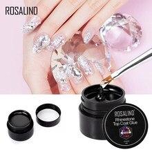 Верхнее покрытие ROSALIND 2 в 1, клей, стразы, гель для ногтей, 5 мл, лак для ногтей, все для маникюра, гибридный лак со стразами для дизайна ногтей