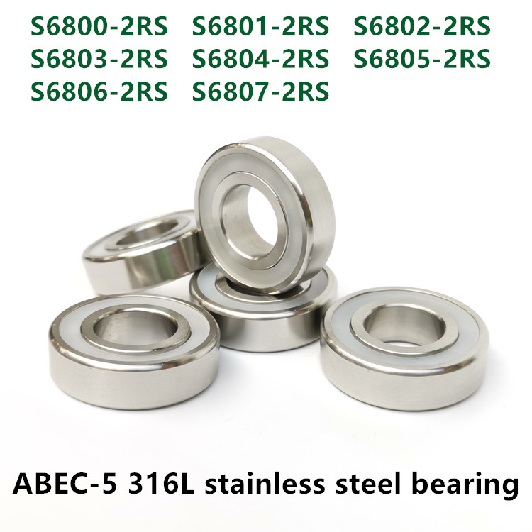 10pcs 316L Stainless Steel Ball Bearing S 6800 6801 6802 6803 6804 6805 6806 6807 -2RS Waterproof Anti-corrosion Bearings