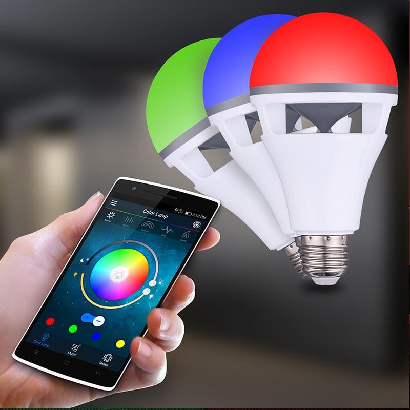 Bluetooth app contrôle haut-parleur ampoule lampe de haute qualité RGBW E27 ampoule avec bluetooth haut-parleur musique jouant coloré haut-parleur ampoule - 5