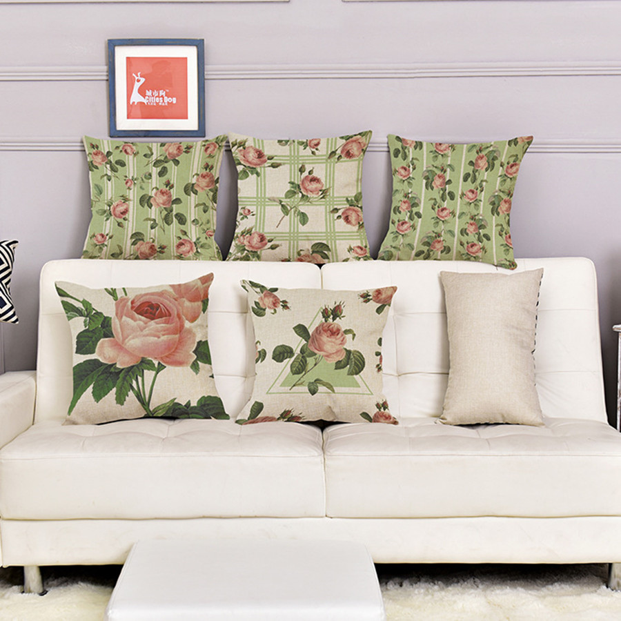 Rose Flower Small Fresh Cotton Linen Backrest Cushion Simple Style Home  Sofa Car Decorative Pillows Pillowcase 45*45cm Hot Gift