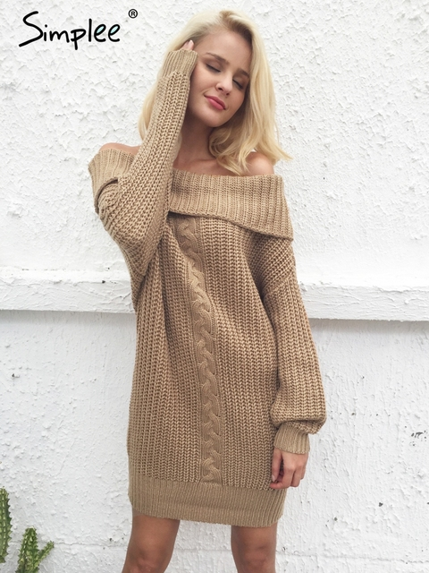 1acd7859771143 Simplee One shoulder sexy winter dress women Knitted loose oversized jumper  winter dress 2017 Autumn new casual pullover