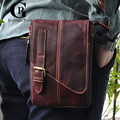 Cowhide! 8 Inch Men Bags Hook Waist Pack Fashion Genuine Leather Messenger Bags Small Travel Crossbody Shoulder Bag For Men