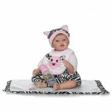 22″ Handmade Realistic Reborn Baby Girl Dolls Birthday Gifts Toys Doll  with Blue Eyes Reborn Baby Dolls with Lovely Cat Clothes