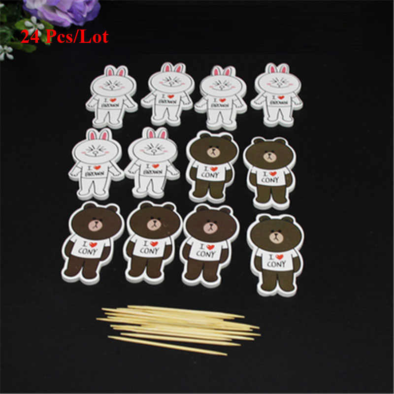 Children Toys Bear Rabbit Doll Cupcake Toppers Cake Decorating Adult 50th Birthday Decoration Toy
