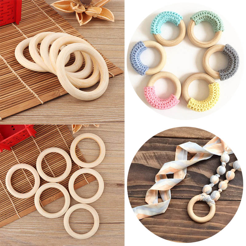 70mm baby wooden teething rings bracelet diy crafts for Wood circles for crafts