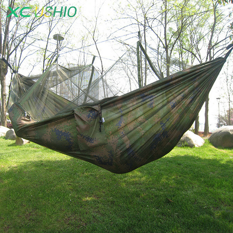 Cheap Price 230*120cm Sleeping Hammock Portable Camouflage High Strength Parachute Nylon Camping Mosquito Hammock With Mosquito Nets Camping & Hiking Sleeping Bags